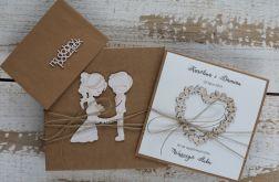 Oryginalna kartka ślubna i pudełko, koperta 1
