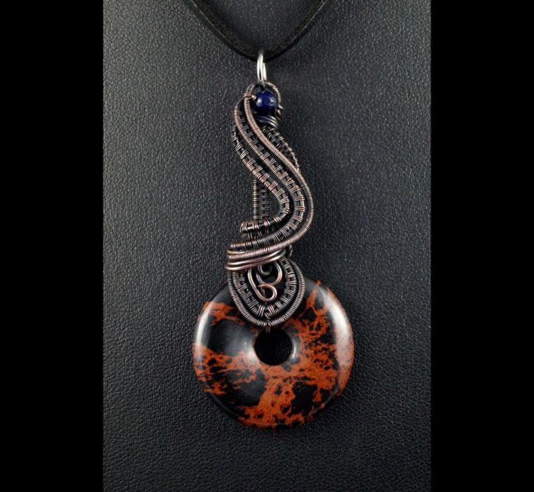 Jaspis, miedziany wisior z jaspisem brązowym - wisior miedziany wire wrapped