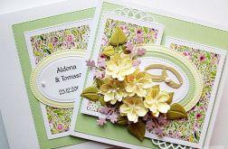 Kartka NA ŚLUB z kremowymi kwiatami