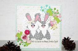 Kartka ślubna z króliczkami