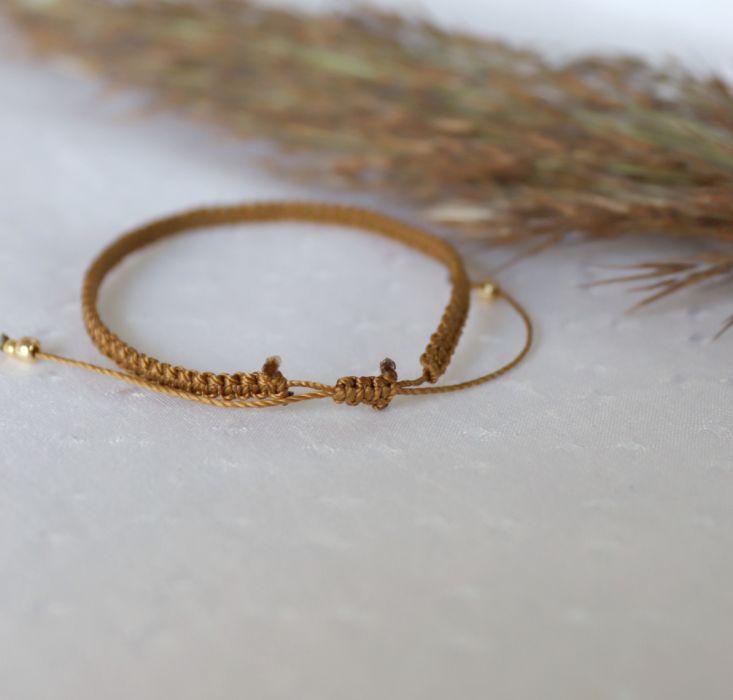 Brązowa bransoletka na rękę z kuleczkami - Bransoletka na nadgarstek minimalistyczna