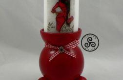 Świecznik czerwony plus świeca