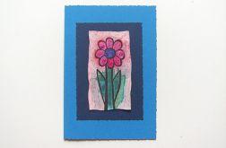 Kartka granatowa z kwiatkiem 8