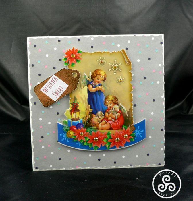 Kartka aniołki z owieczkami (02) - teofano atelier, pocztówka