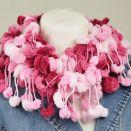pom-pon scarf  - różowy