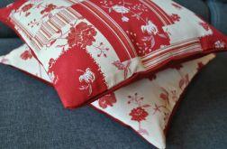 Poszewka dekoracyjna - czerwone patchworki na beżu