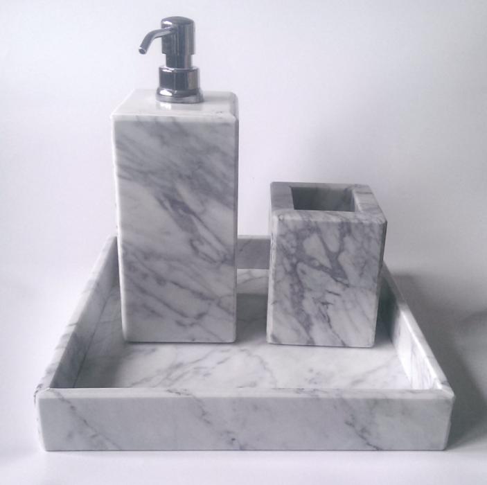 Taca z marmuru Bianco Carrara Venato 30 x 30 x 1 cm