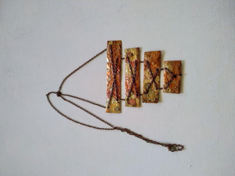 Naszyjnik z miedzi na łańcuszku  - Unikalny naszyjnik miedziany