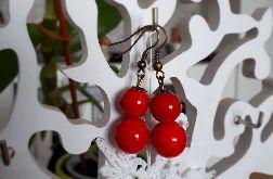 Kolczyki handmade czerwone z dwoma kuleczkami