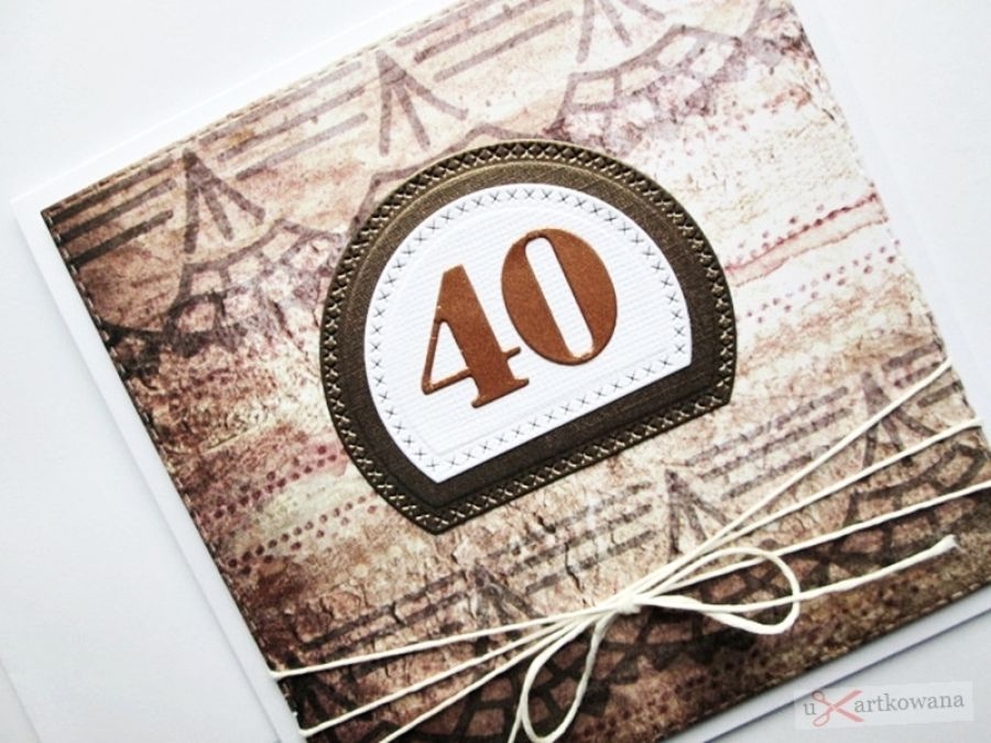 Kartka URODZINOWA w brązie - Brązowo-beżowa kartka na urodziny