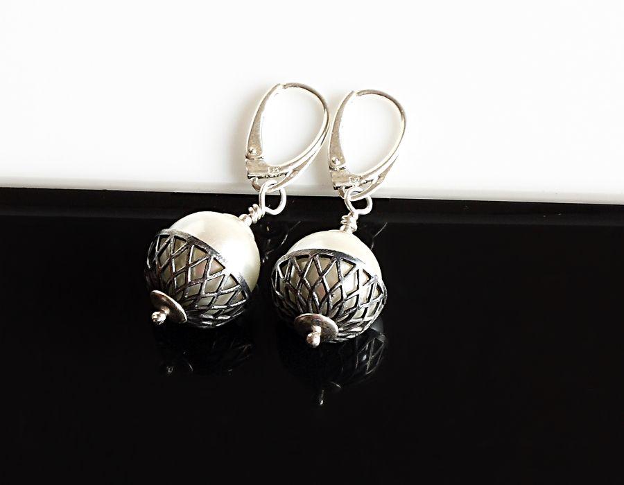 Perły w koszyczku - kolczyki - kolczyki z perłą