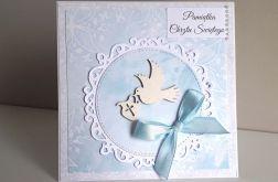Kartka na Chrzest Narodziny niebieska gołąbek