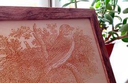 6B. Obraz Drzeworyt Ptak Efekt Korników(345x258)mm
