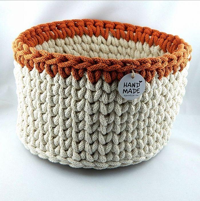 Koszyczek robiony szydełkiem ze sznurka 25 cm - Widok z boku