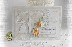 Pamiątka ślubna kremowa i oranż