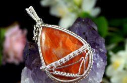 Kalcyt, srebrny wisior z kalcytem pomarańcz