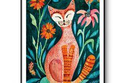 Orange cat wydruk ilustracji