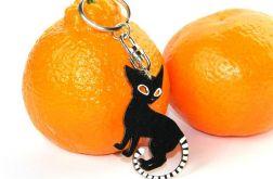 Brelok ręcznie malowany - Kot Czarno-biały - Dla miłośnika zwierząt