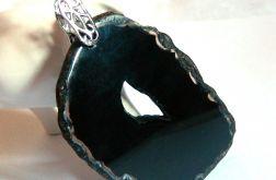 Czarny agat z druzą, surowy plaster, wisior