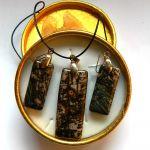 Rodochrozyt,unikatowy zestaw biżuterii, złoto