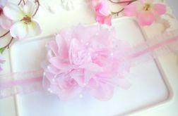 Nomma Opaska niemowlęca CHRZEST kwiat RÓŻ
