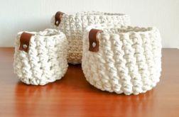 Koszyk ze sznurka bawełnianego kremowy,rozm.L