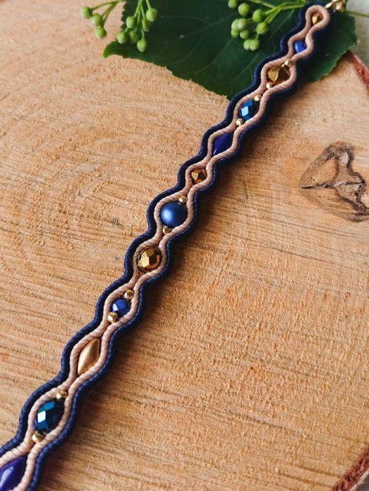 Granatowo-beżowa bransoletka