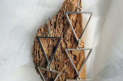 Kolczyki 3 trójkąty wiszące długie