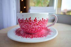 Filiżanka ręcznie malowana Czerwona 350 ml