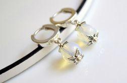 Kolczyki srebrne bigle + opal
