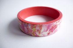 Bransoletka czerwono różowa płaska decoupage