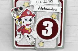 Kartka na urodziny Psi Patrol szaro czerwona
