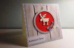 Kartka Boże Narodzenie handmade łoś czerwona