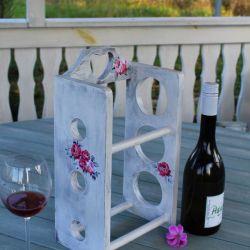 Stojak na wino, shabby chic, róże, prezent