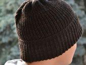 Ciepła melanżowa czapka wywijana -melanż w odcieniach grafitu i szarości z odrobina brązu
