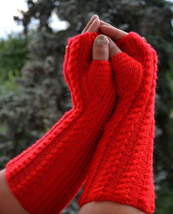 Czerwone rękawiczki mitenki  - długie