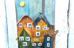 wieszak na klucze, ubrania z drewna - domy 3D