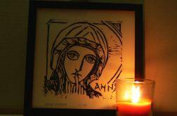 grafika święta Anna linoryt brąz