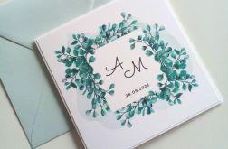 Zaproszenie ślubne z eukalptusem