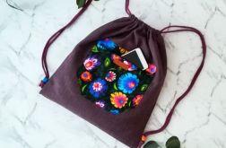 Worek /plecak fioletowy folk