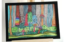 Zentangle GRZYBY rysunek obraz obrazek