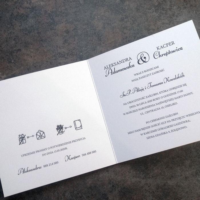 zaproszenia ślubne biało granatowe 028 - środek