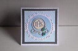 Kartka Komunia Święta błękitna IHS