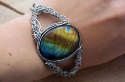 Bransoleta Labradoryt, wire wrapping