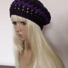 Fioletowy ażurowy beret - ozdobna czapka
