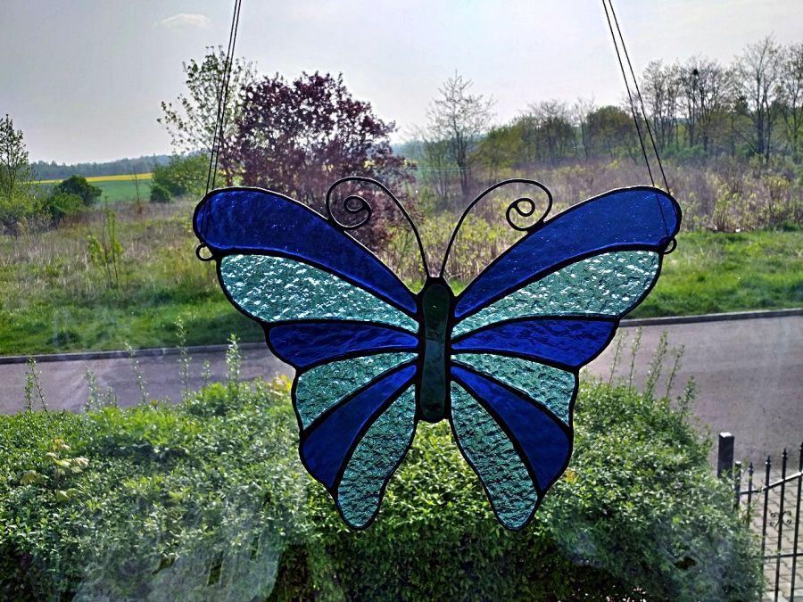 Zawieszka Zaczarowany Motyl Tiffany - ozdobiony drutem miedzianym