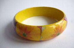 Bransoletka żółta słoneczna decoupage