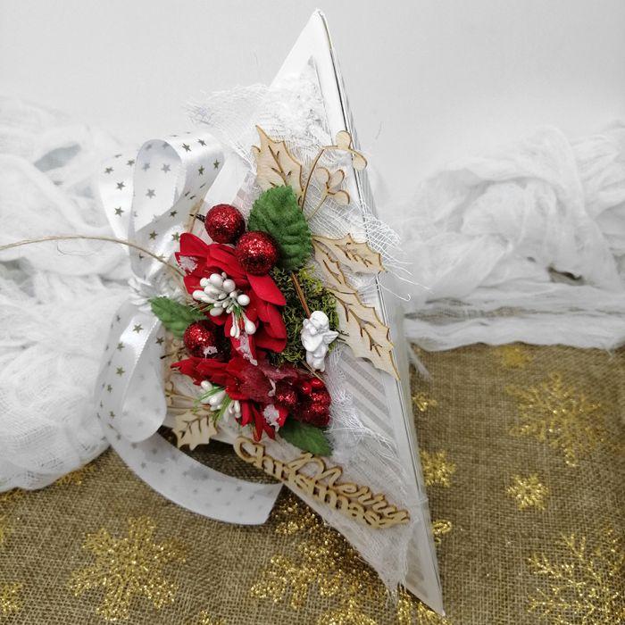 Kartka świąteczna w kształcie choinki BNR 012 - Kartka na boże narodzenie nietypowa w kształcie choinki  z kokardą (3)