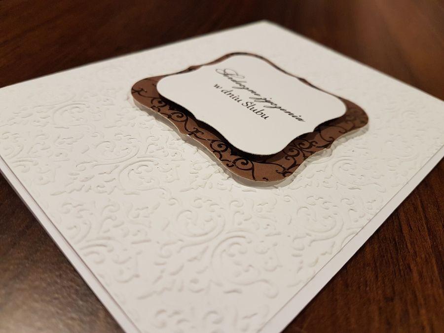 Kartka ślubna z tłoczonym wzorem 3