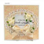 Kartka ślubna jasno-żółta ręcznie robiona - KARTKA ŚLUBNA